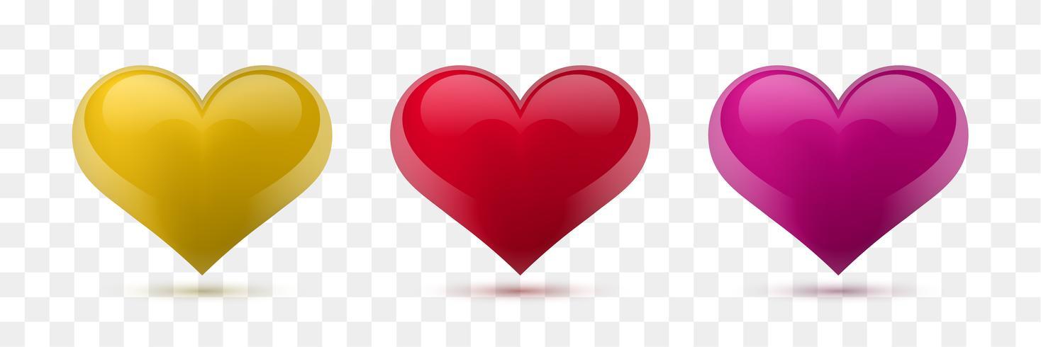 Conjunto de corazones de vectores. Ilustracion vectorial Corazón realista, aislado. - vector