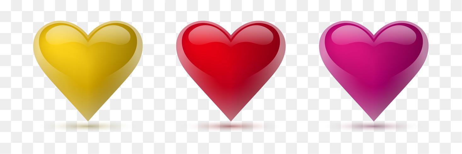 Sats med vektorhjärtan. Vektor illustration. Realistiskt hjärta, isolerat. - Vektor