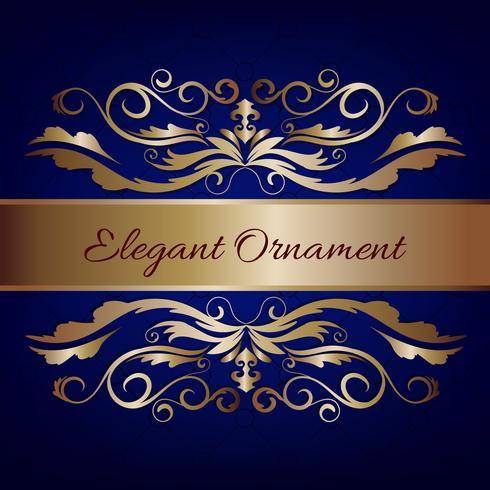 Vintage Einladungskarte. Blauer Luxushintergrund mit goldenem Rahmen. Vorlage für Design