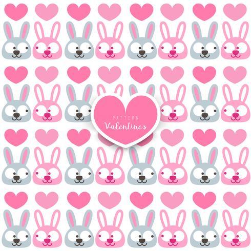 Alla hjärtans dag. sömlöst mönster med kanin