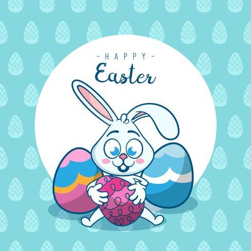 Färgrikt Grattis påskhälsningskort med kanin, kanin, ägg och banderoller