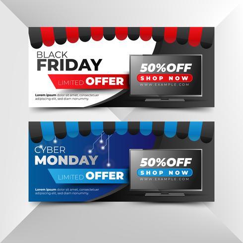 Flyer de vendredi noir et cyber lundi dans un style moderne