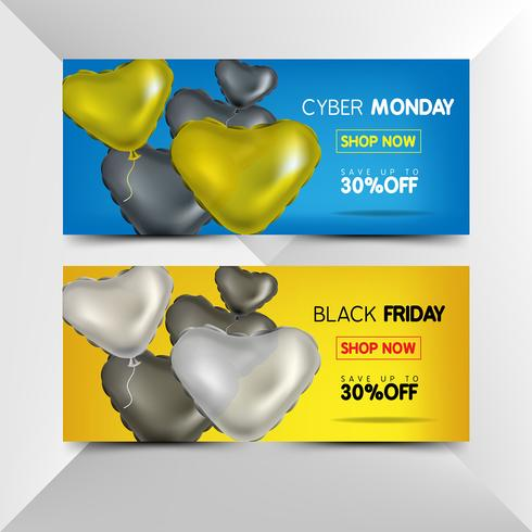 Volantino di venerdì nero e lunedì cibernetico con palloncini