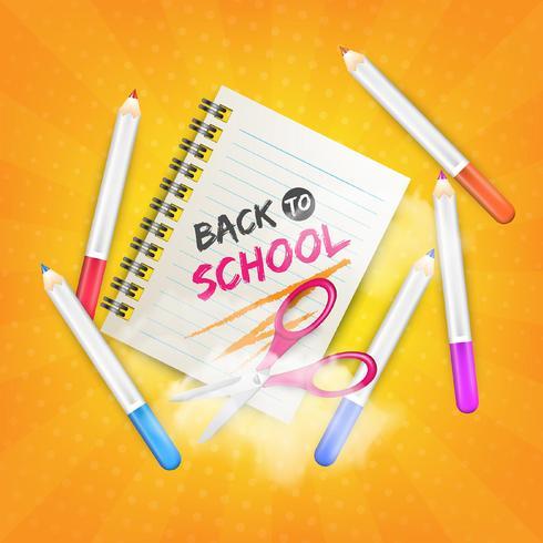 Regreso a la escuela con tijeras realistas, cuaderno y lápices.