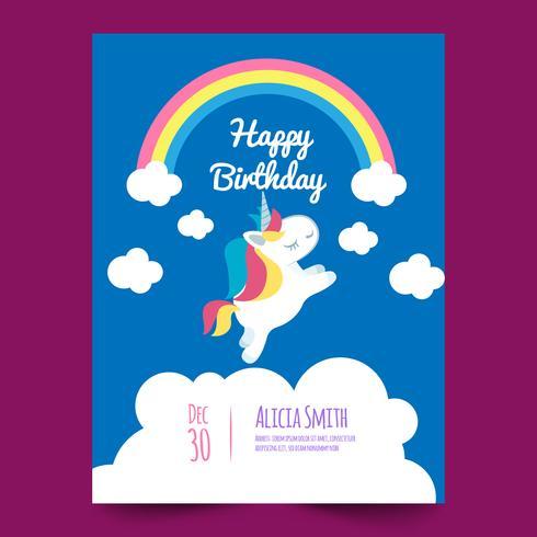 Carte d'anniversaire avec jolie licorne et nuage
