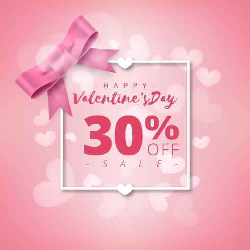 Día de San Valentín super venta de antecedentes. Fondo rosa abstracto con cinta