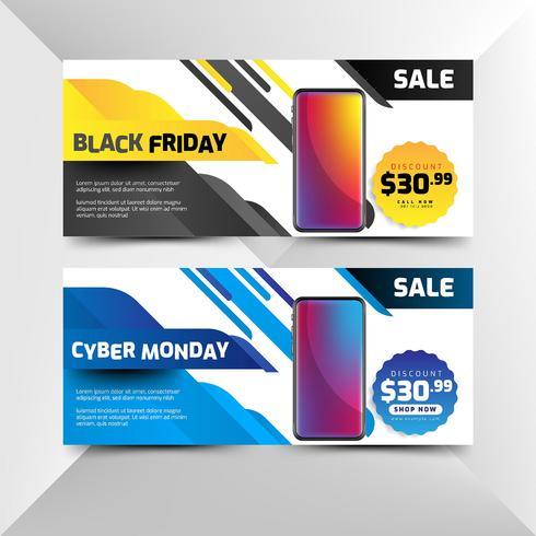 Volantino nero venerdì e cyber lunedì in stile moderno