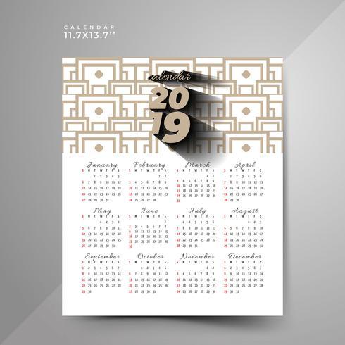 2019 abstract calendar