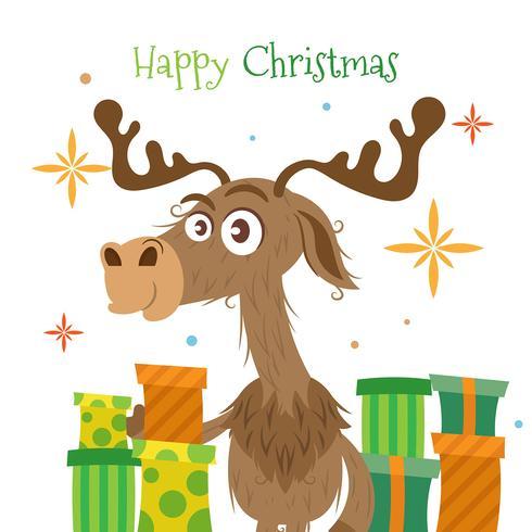 Fundo de Natal com renas e presentes