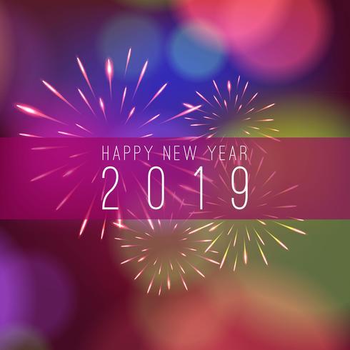 Feux d'artifice de célébration 2019 beau fond