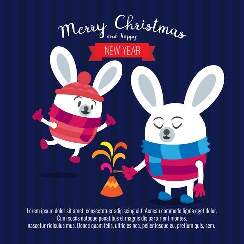 Tarjeta con conejo de navidad. Dibujos animados lindo ciervo con pirotecnia