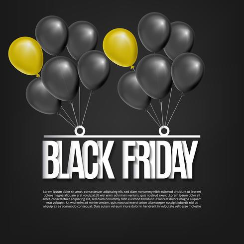 Black friday design with realistic balloons