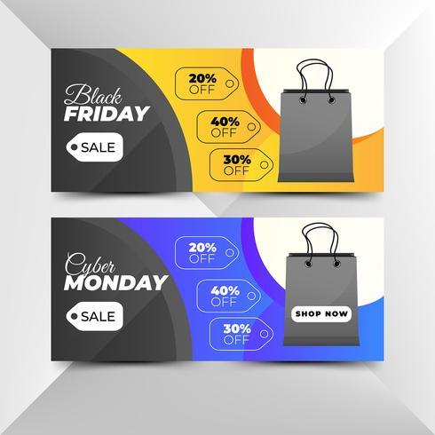 Modèles de bannière Black Friday et Cyber Monday Sale