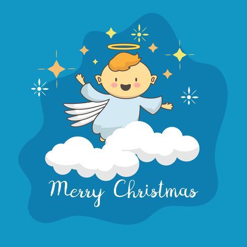 Angelo carino con stella di Natale