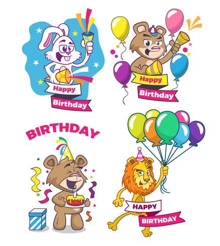 Feliz Aniversário. Conjunto de cartões com animais fofos