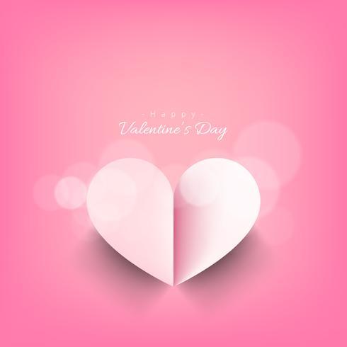 Tarjeta de día de San Valentín de corazón de papel rosa