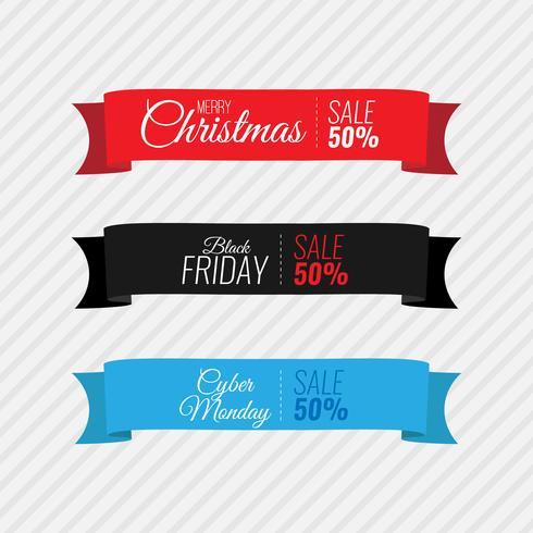 Feliz navidad viernes negro y ciber lunes cinta