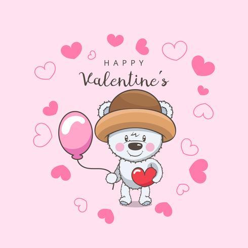 Valentijnsdag achtergrond met schattige kleine beer