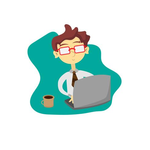 Zakenman die aan computer werkt