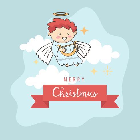 Biglietto di auguri, cartolina di Natale con angelo di Natale