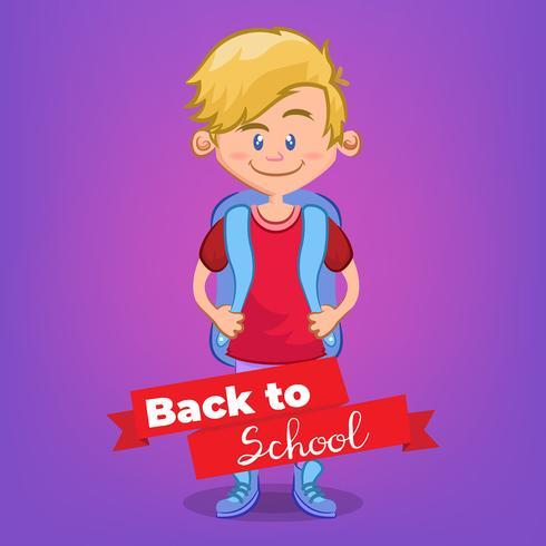 Söt pojke gå till skolan tecknad film
