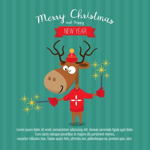 Card with christmas santa reindeer. Cute cartoon deer with pyrotechnics