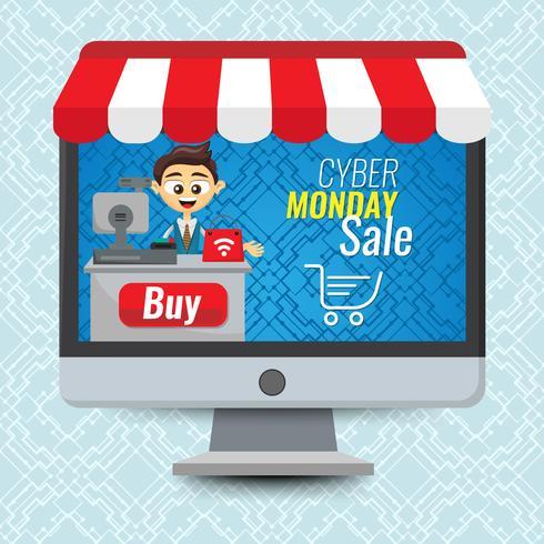 Vector illustratie concept voor online winkel. Digitale marketing. Mens die in computer verkoopt