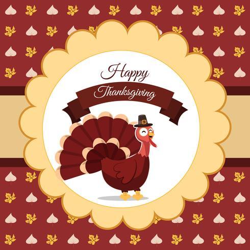Vector illustration of happy Thanksgiving turkey