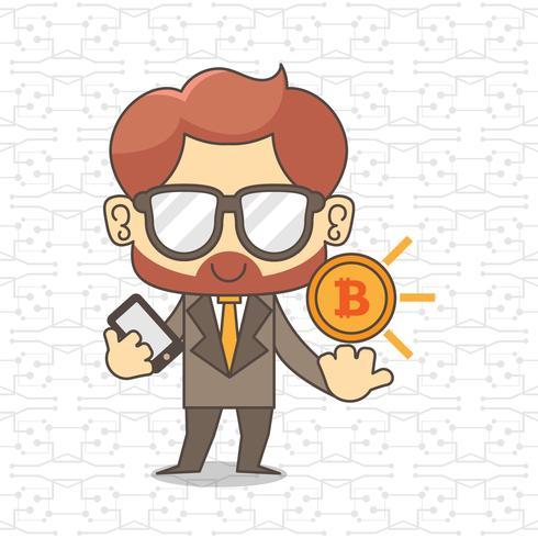 Geschäftsmann, der Smartphone und Bitcoins auszieht