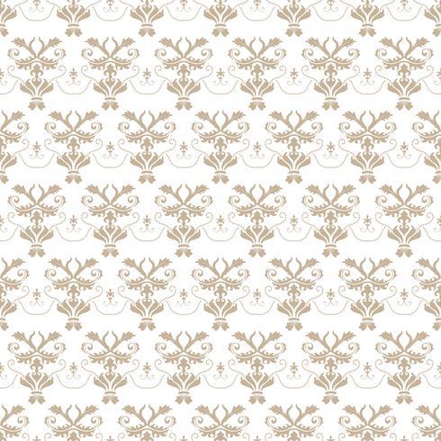 Motivo floreale Wallpaper barocco, damasco. Sfondo vettoriale senza soluzione di continuità. Ornamento grigio e bianco