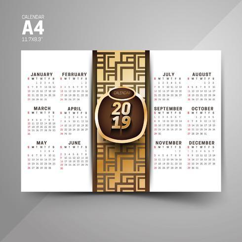 Modèles de calendrier de modèle noir et or 2019