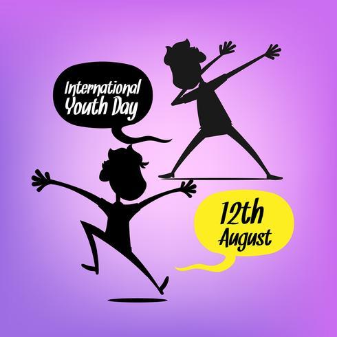 Fond de la journée de la jeunesse avec des silhouettes
