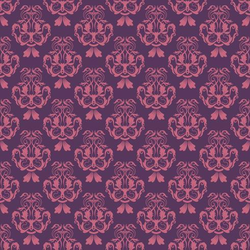 Motif floral Papier peint baroque, damassé. Fond vectorielle continue Ornement violet et rose