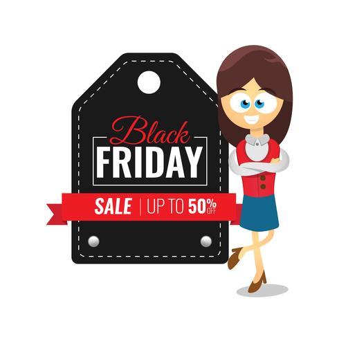 Black Friday Sale, étiquette de vêtements, avec caricature de femme d'affaires