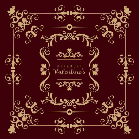 Valentine met verschillende gewervelde bloemenornamenten wordt geplaatst die