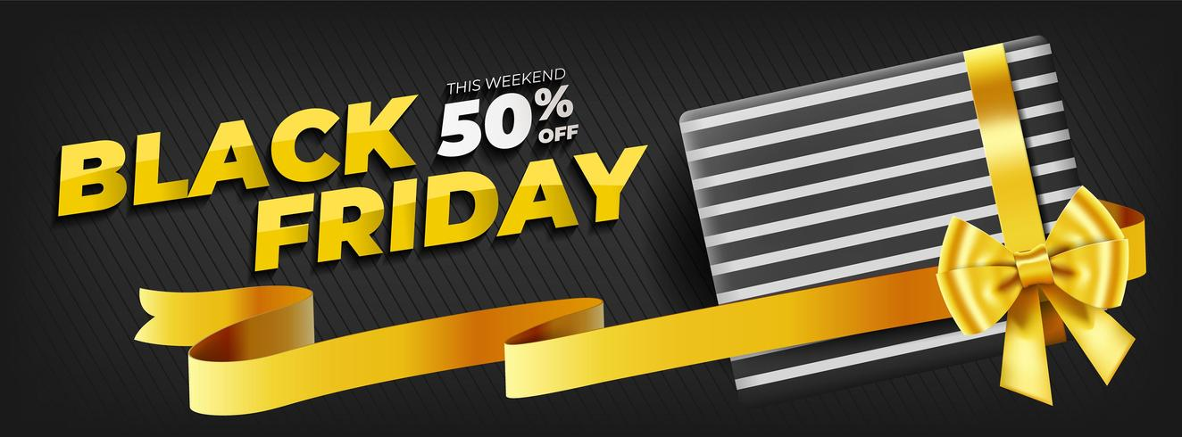 Black friday template with gift box