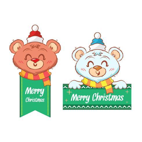 Adesivo de Natal com um urso fofo