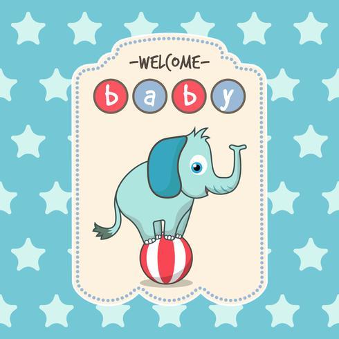 Carte bleue pour le baby shower avec un éléphant mignon