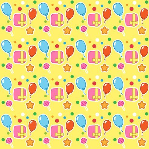 Padrão de aniversário com caixas de presente, balão e doces