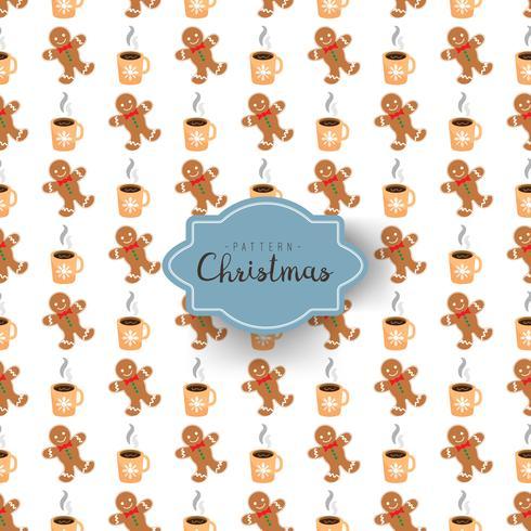Padrão sem emenda com símbolos de Natal no estilo cartoon. Homem-biscoito e café