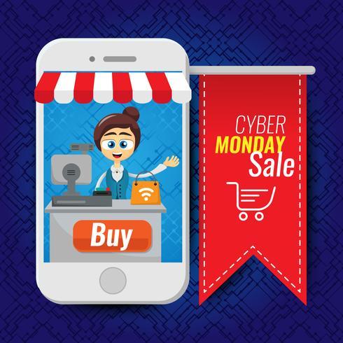 Vector illustratie concept voor online winkel. Digitale marketing. Vrouw verkopen