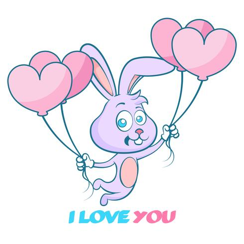 Gelukkige valentijnskaarten, leuk hand getrokken konijn met ballons