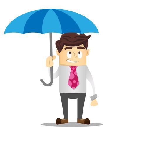 Smileyzakenman die een paraplu houdt