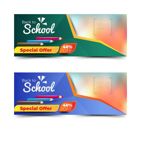 Volta para a coleção de banners de escola com lápis de cor