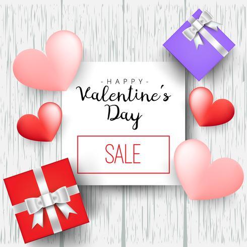 Regalo presente del cuore con l'illustrazione di vettore di giorno di biglietti di S. Valentino dei cuori per progettazione
