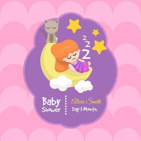 Cartão de chuveiro de bebê fofo para menina