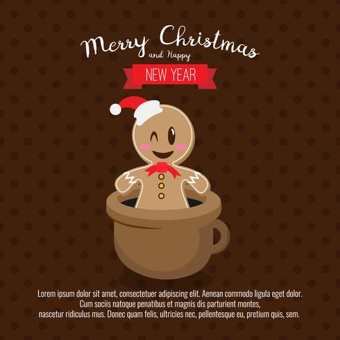 Card with christmas gingerbread Man