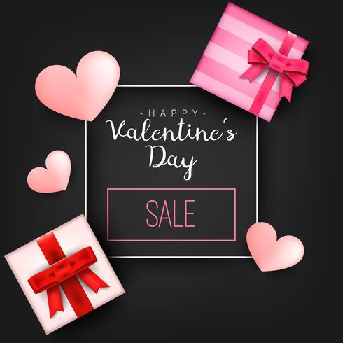 Herzgeschenk vorhanden mit Herz Valentinsgrußtagesvektorillustration für Design