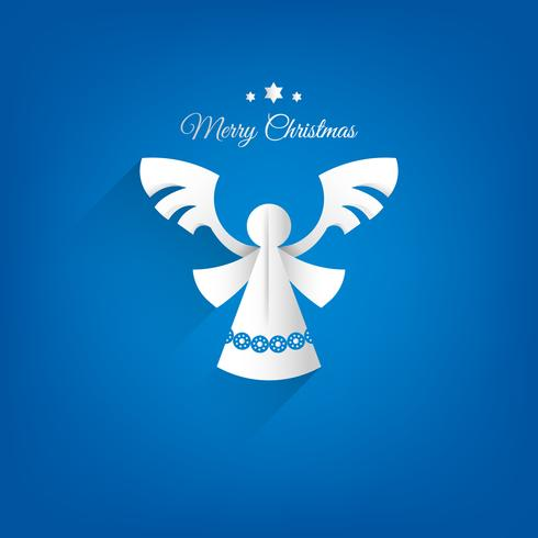 Anjo de papel sobre um fundo azul. Cartão dos anjos do Feliz Natal.