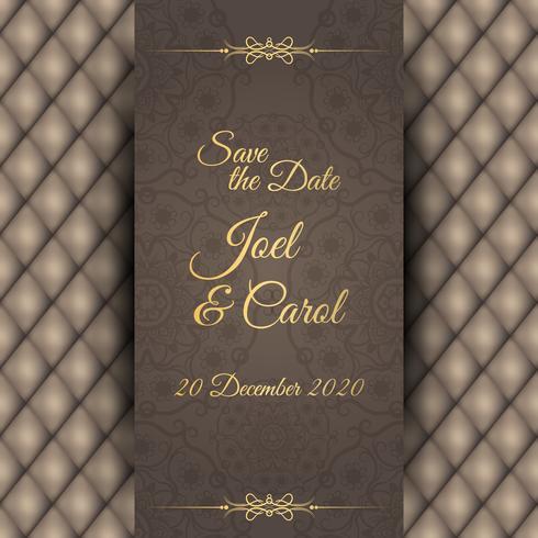Vintage wedding invitation with leather black